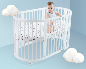 Multi-function Round Pine Solid Wood Adult Baby Crib High Quality Wooden Crib