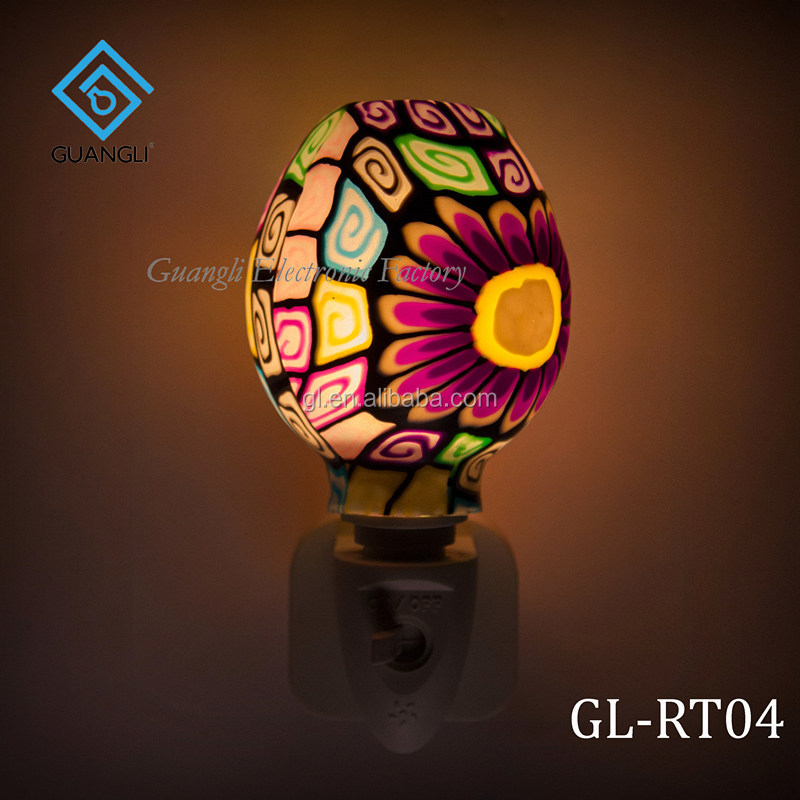 ETL  CE SAA CB BS Purple Mosaic design Aroma Essential Oil soft Art glass night light 110v 220v 7w