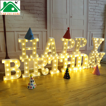 Happy Birthday Decoration Home Led Decorative Light Letter