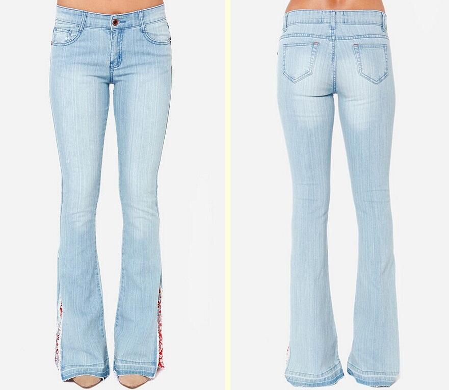 Wholesale Light Wash Flare Bell Bottom Denim Jeans - Buy Bell ...