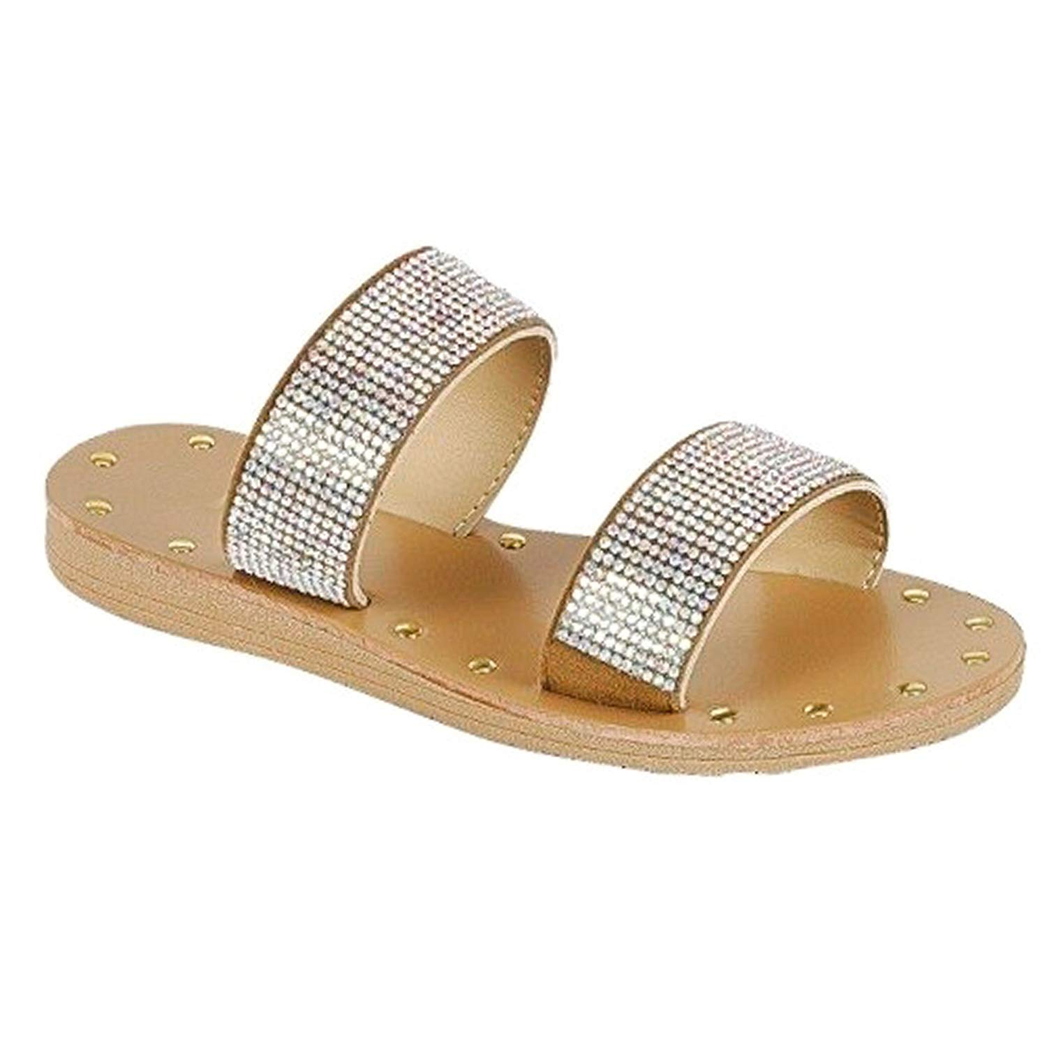 f0f0b53e56dc1 Get Quotations · SNJ Women Casual Slingback   Double 2 Strap Sandal Low Flat  Heel Slip On Slide