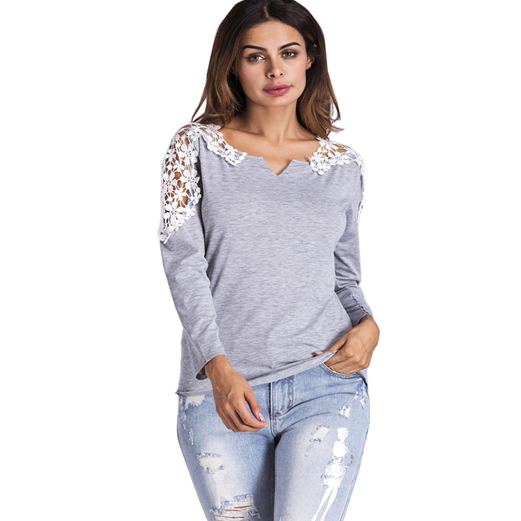 Autumn Gray Women Clothing Casual Women Blouse Long Sleeve Tops with Applique