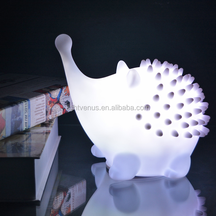 Led Hedgehog Night Light Table Lamps With Animals Color Changing ...
