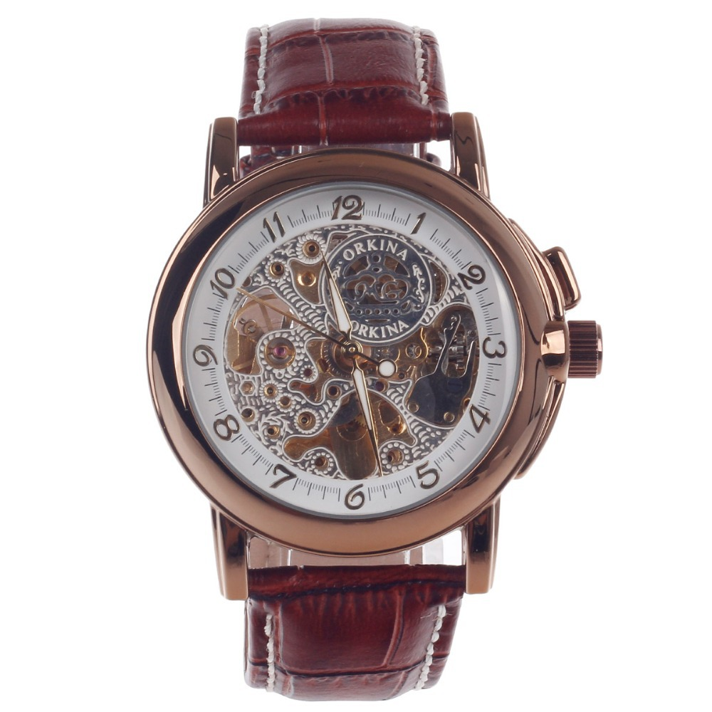 ORKINA MG015 Men Casual Watch Mechanical Watches Cattle Hide Brown Leather Band Wristwatch Clock Masculino Watches men