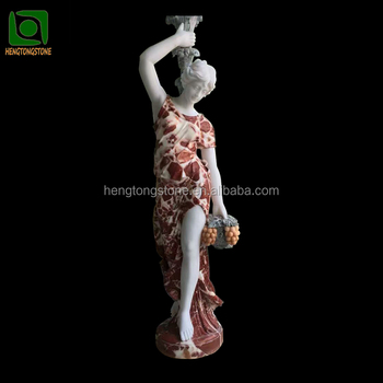 Large Garden Stone Marble Lady Light Statue Carving
