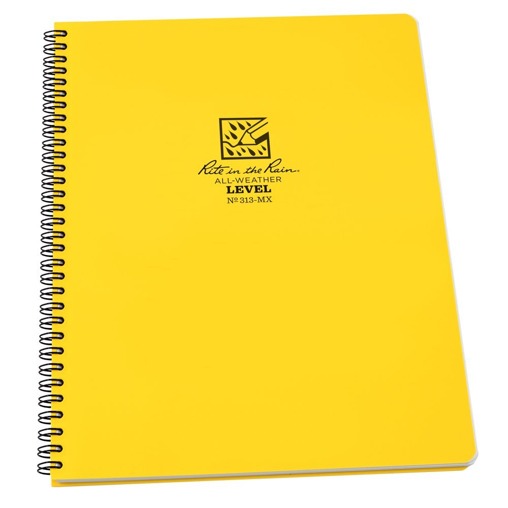 "Rite in the Rain All-Weather Side-Spiral Notebook, 8 1/2"" x 11"", Yellow Cover, Level Pattern (No. 313-MX)"