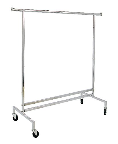 AMKO R43 Square Tubing Single Hangrail Rolling Rack - Garment Rack for Home, Retail Display, Commercial Grade Clothing Rack. Display Racks, Fixtures