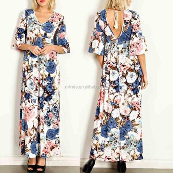0a8b84f12b7 Occasion Dresses FLORAL PRINT JERSEY KNIT BELL SLEEVES MAXI DRESS Latest  design muslim dress