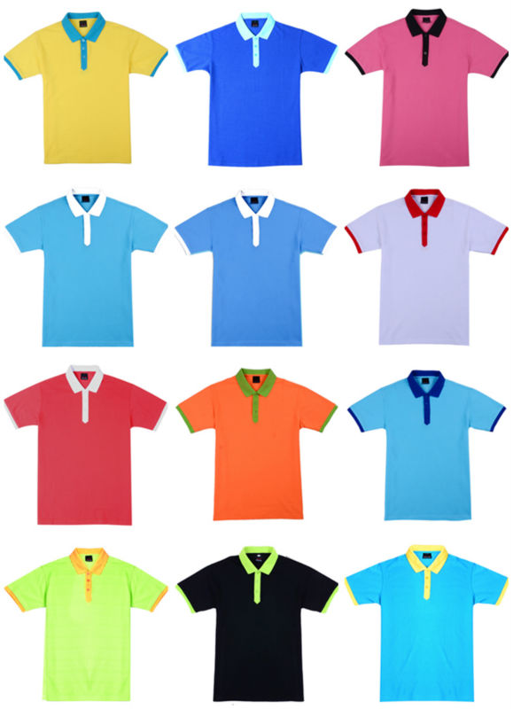 260g 100 Cotton Different Color Collar Polo Shirt Custom