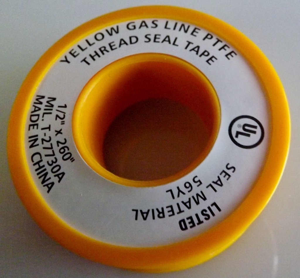 """Teflon Tape 1/2"""" x 260"""" - Yellow Gas"""