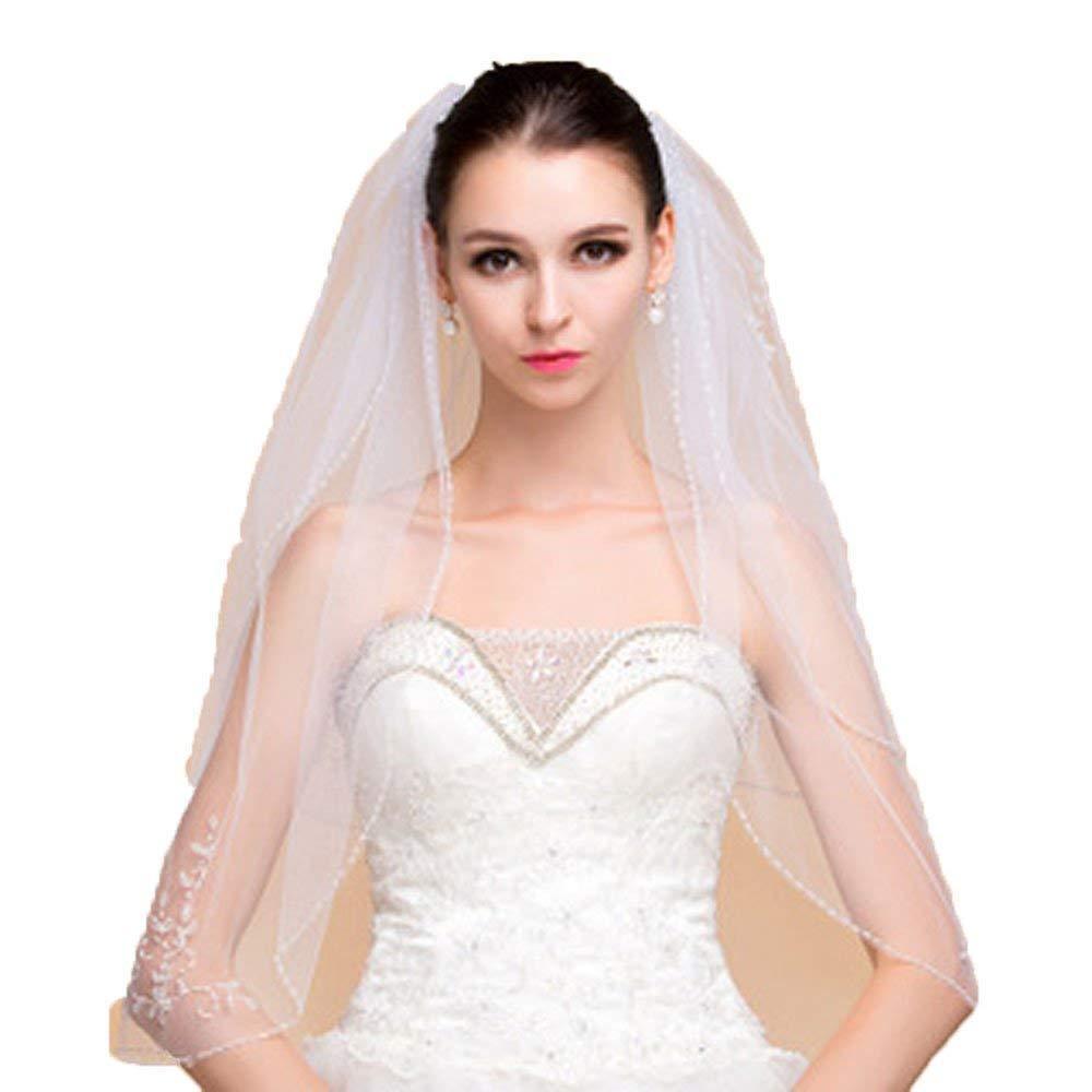 Wedding Veil Sequin Beaded Edge Luxury Crystals Beaded Bridal Veil