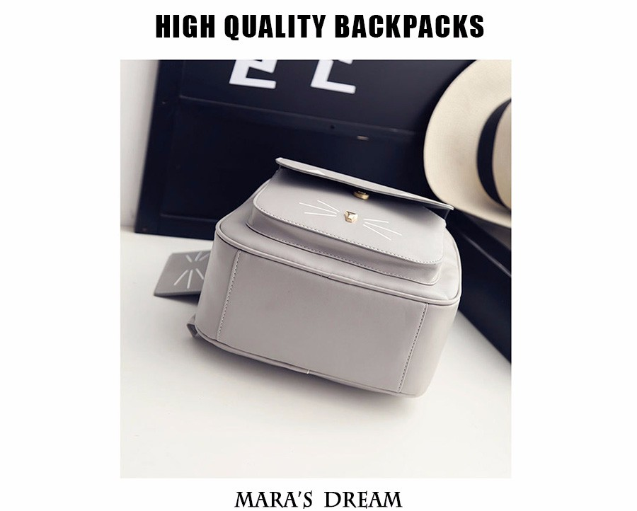 0c27eac5d060 Wholesale- Mara s Dream PU Leather Backpack For Women Girls Cute Cat Metal  Solid Color ZIMU Rucksack School Backpack children Bag 2 Pcs set