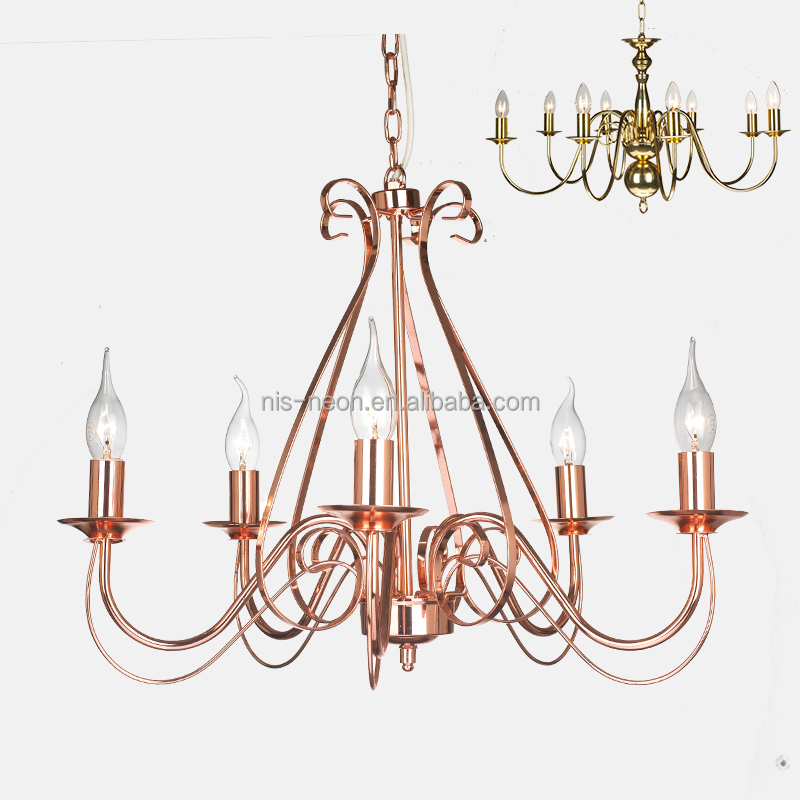 Flemish 5 Light Chandelier Antique Brass Wrought Iron Copper Hanging Ceiling Light NS-120138