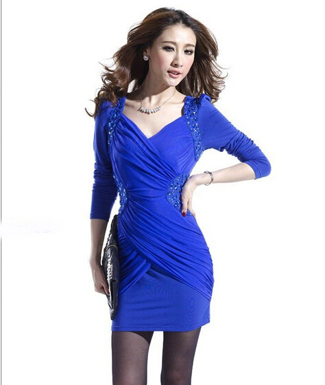 2014 Fashion plus size women autumn winter casual beading sexy dress nightclub Slim elegant long-sleeved V-neck woman vestido