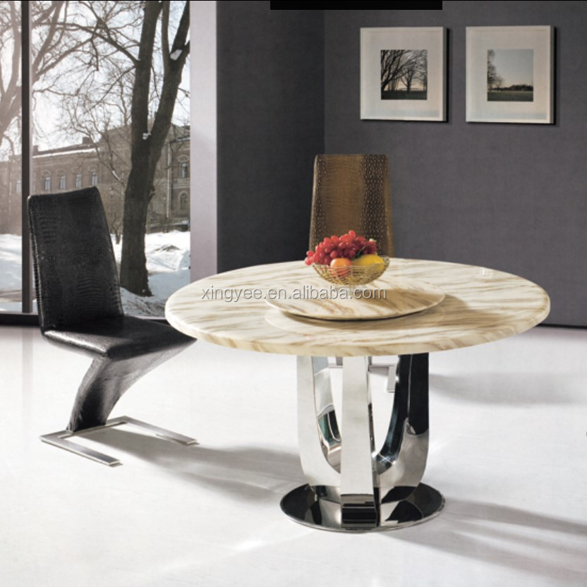 Modern Dining Room Stainless Steel Table Furniture Glass Marble Round  Dining Table With Rotating Centre Granite Dining Table Set - Buy Rotating  Round ...