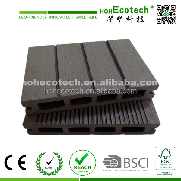 low labor cost wood plastic floor boards / grooved deck board