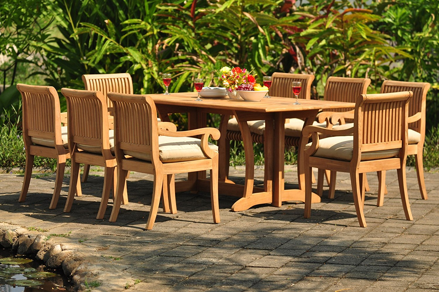 """Grade-A Teak Wood Dining Set 8 Seater 9 Pc: 69"""" Warwick Dining Rectangle Table And 8 Giva Arm Chairs #WFDSGV37"""