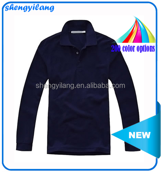 Classic plain solid color cotton long sleeves men's polo / solid color cotton polo t-shirts for men T13327-2