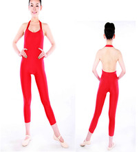 M000700 Rouge Licou Bas Dos Spandex Ballet Justaucorps