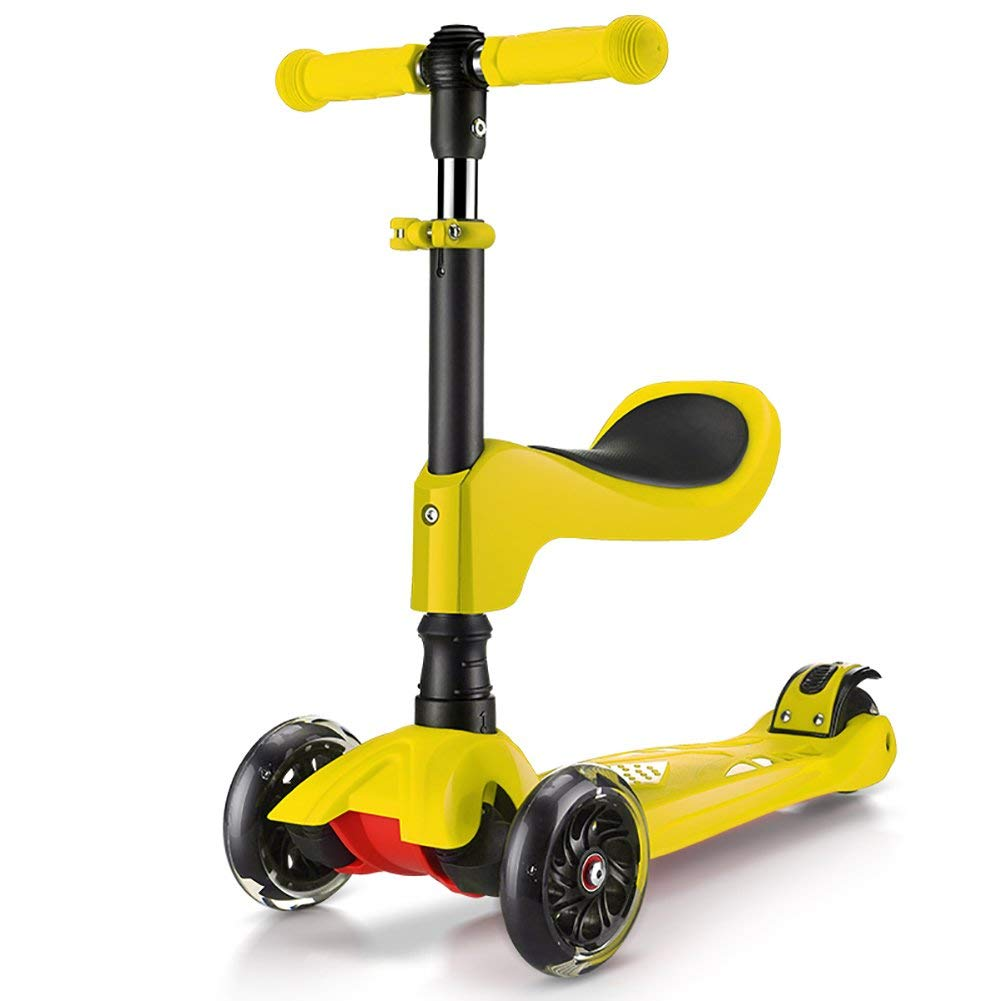 ZXL Three-Wheeled Scooters 1-6 Years Old Boys Girls Little Kids Height Adjustable Fold High-elastic PU Flash Wheel Scooter (Color : Yellow)
