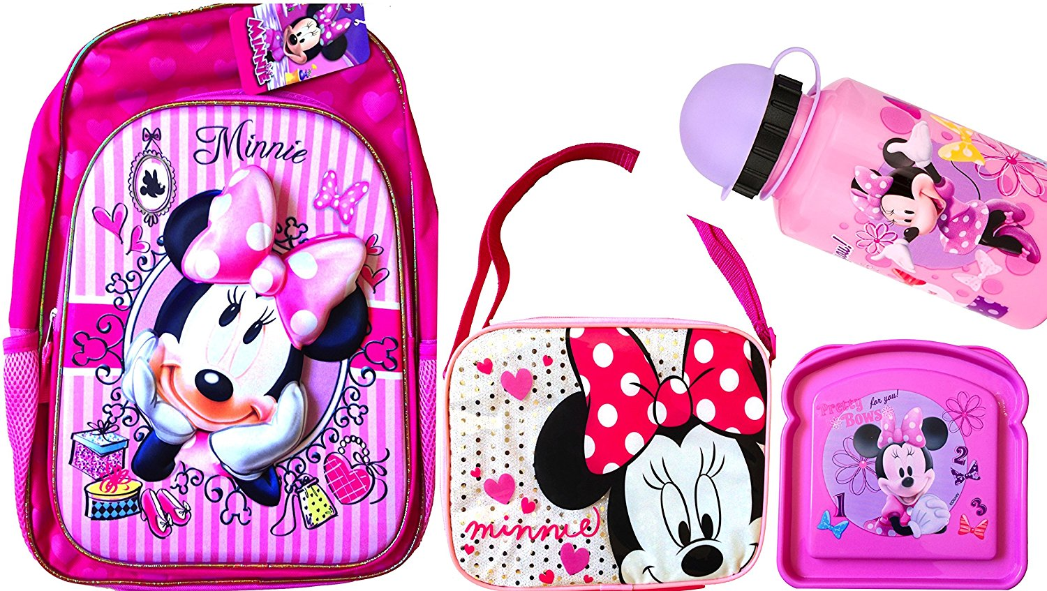 """Back to School Children's Backpack 16"""" Character Themed Back to School 3d Graphic Backpacks with Matching Children's Lunch Boxes Water Bottle and Sandwich Container (DISNEY MINNIE)"""