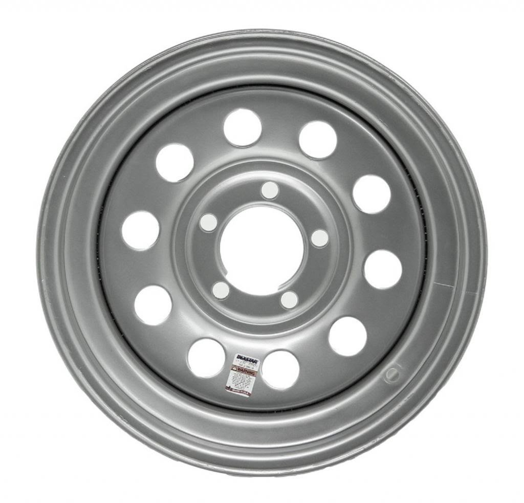 "eCustomRim Trailer Wheel Rim #5225 15x5-5 on 5"" 5 Hole Lug Modular Silver Gray"