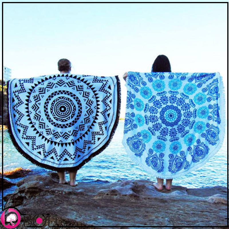 Large printed mandala round beach towel for 2 person