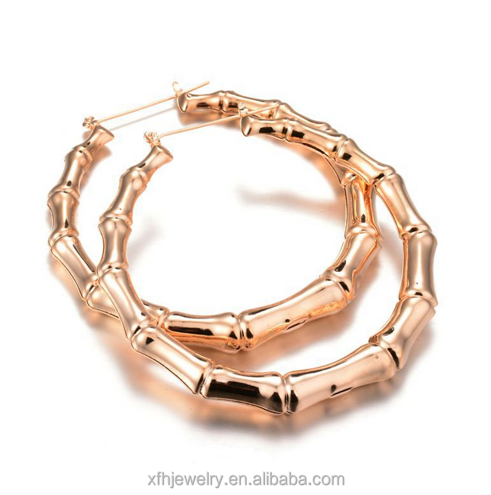 Alibaba High Quality Hoop Earring Women's Gold Plated Earring Special Bamboo Design