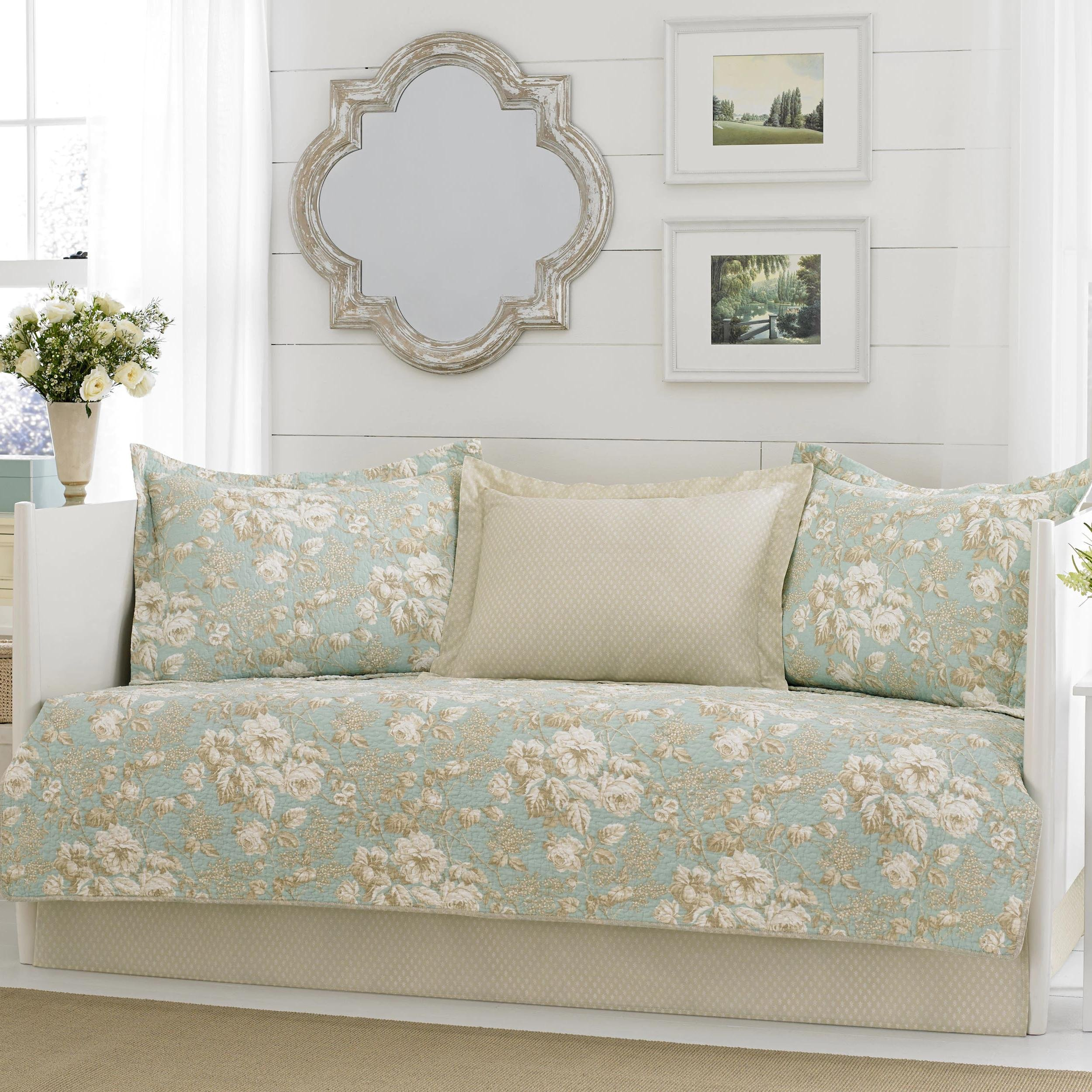 Green, Off-White and Tan Reversible, 5-piece Cotton Daybed Cover Set with Bedskirt and Floral Pattern Included Cross Scented Candle Tart