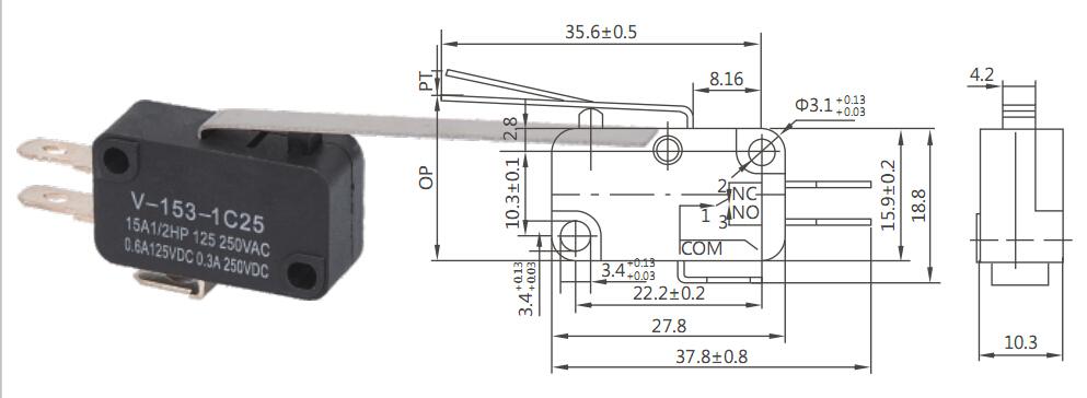 kw series ip65 long life kw3 oz micro switch