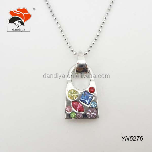glamourous rainbow rhinestone inlaid silver tone lock necklace for decor