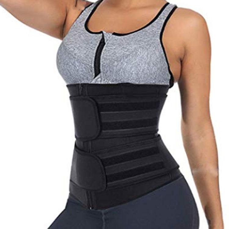Women Hot Sweat Neoprene Double Compression Belt Zipper Women Slimming Tummy Waist Trainer, Customized color