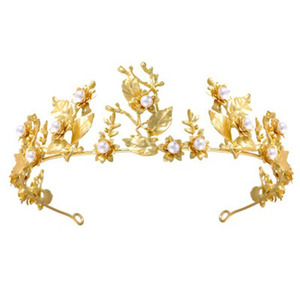 Wholesale New Design Gold Wedding Peal Crown Bridal Ballet Tiara Headpiece for Bride