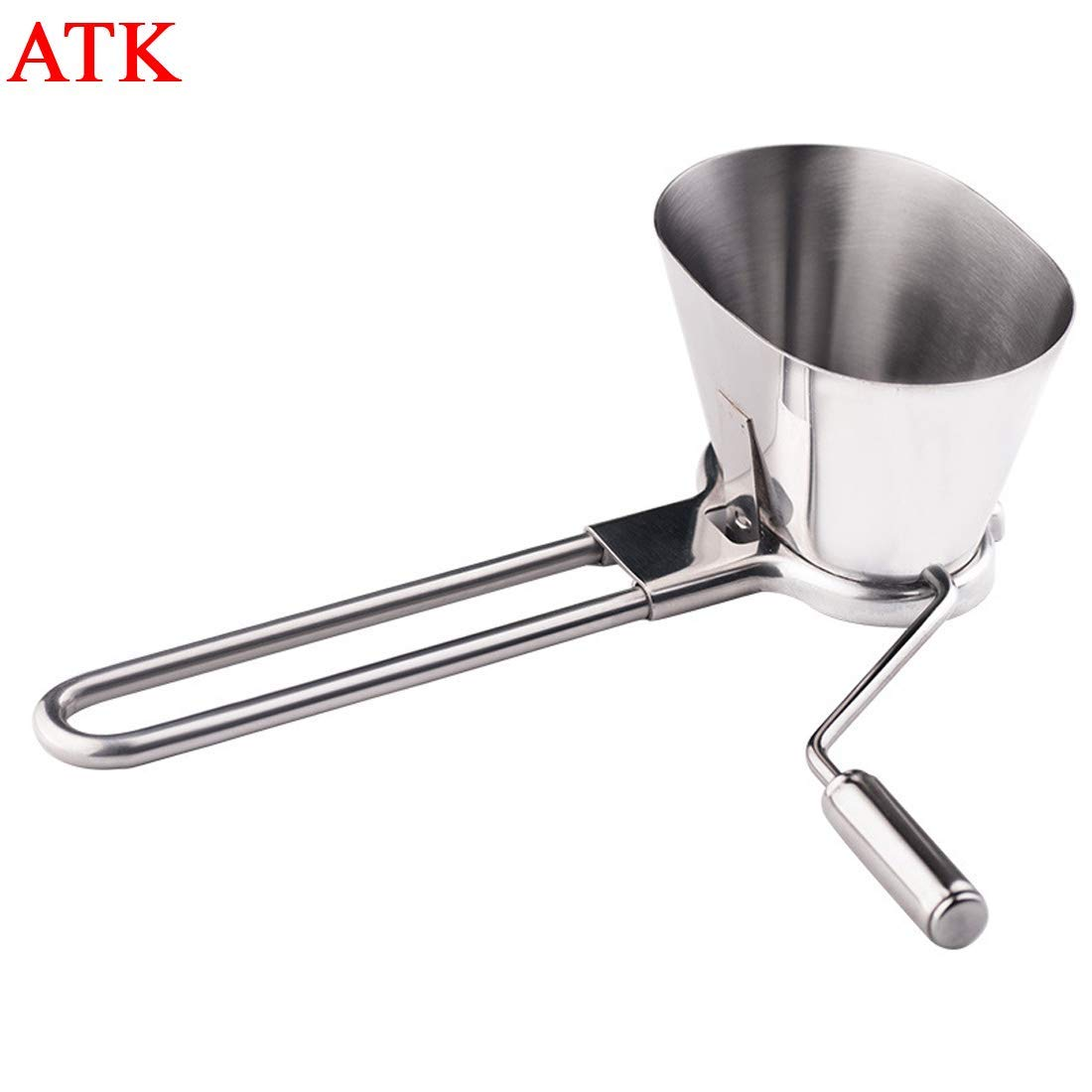 ATK Stainless Steel Rotary Herb Mill and Mint Cutter, Vegetables Chopper,Manual Coriander Shredder Parsley Chopper, Onion Grinder, Multi-functional Mincer, Silver Color