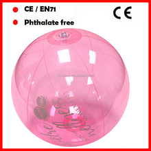 "18"" transparent pink color beach balls with logo inflatable water ball"