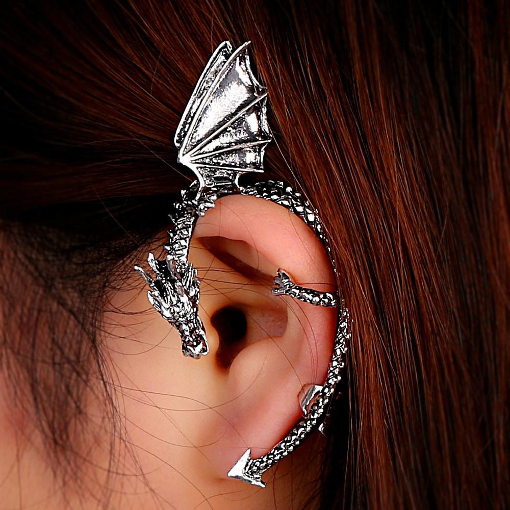 Retro Vintage Gothic Rock Punk Twine Dragon Shape Ear Cuff Earring for Women Men Earrings, Optional