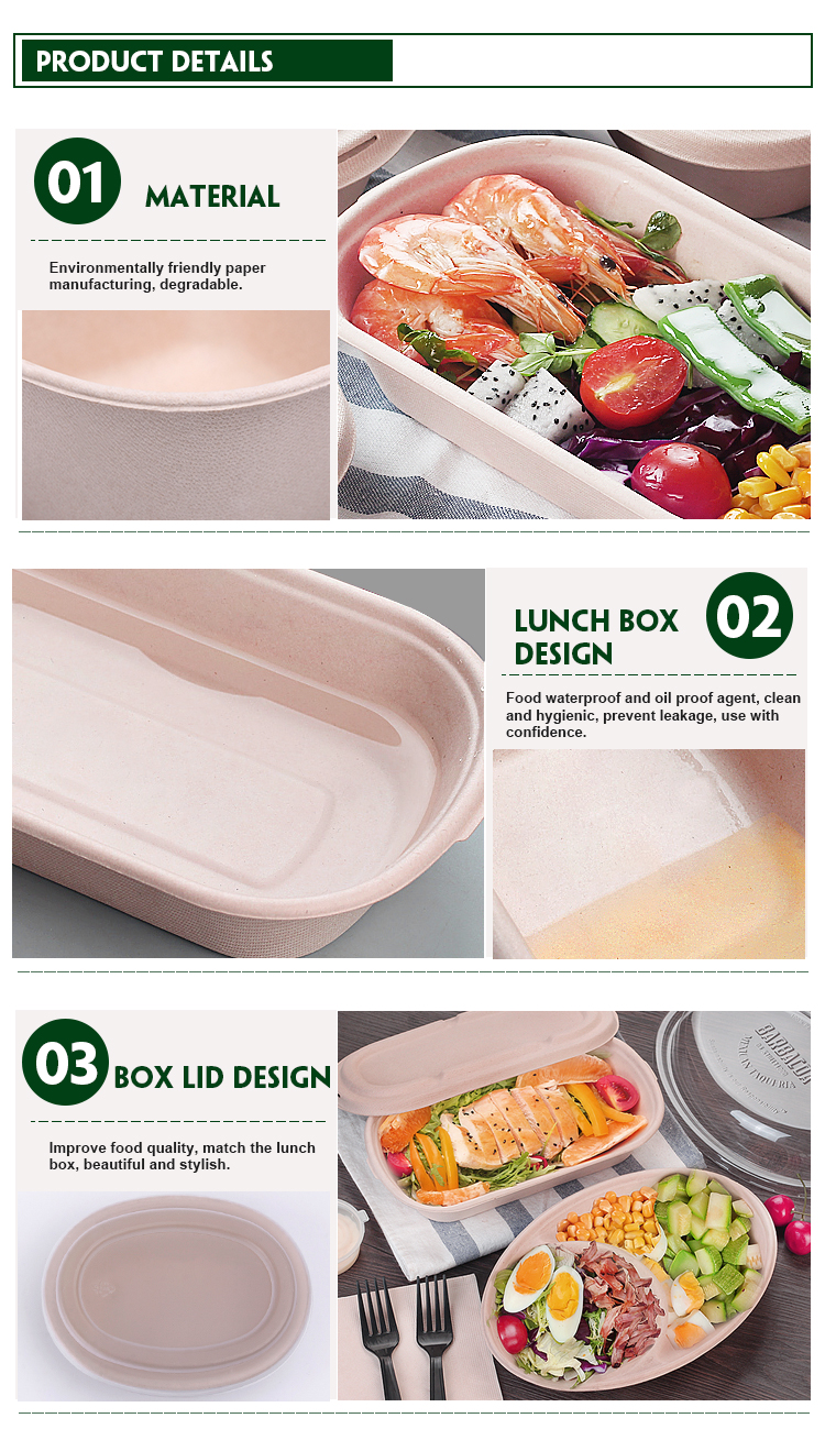 Cheap Wholesale Personalizado Eco Takeaway Descartável Caixa de Almoço De Papel Biodegradável