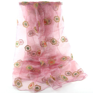 Hot seller cheap glitter flower embroider organza shawl scarf middle west hijab