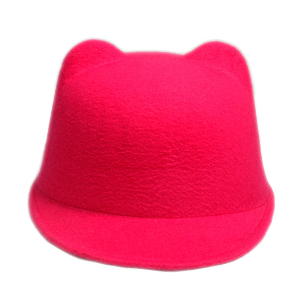 100 Wool Girl Boy Fedoras hat With mickey cat ear Sun hat winter warm soft kid