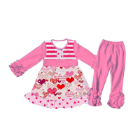 Sue Lucky adorable designs long sleeve valentines day baby girls clothes with pink pants set
