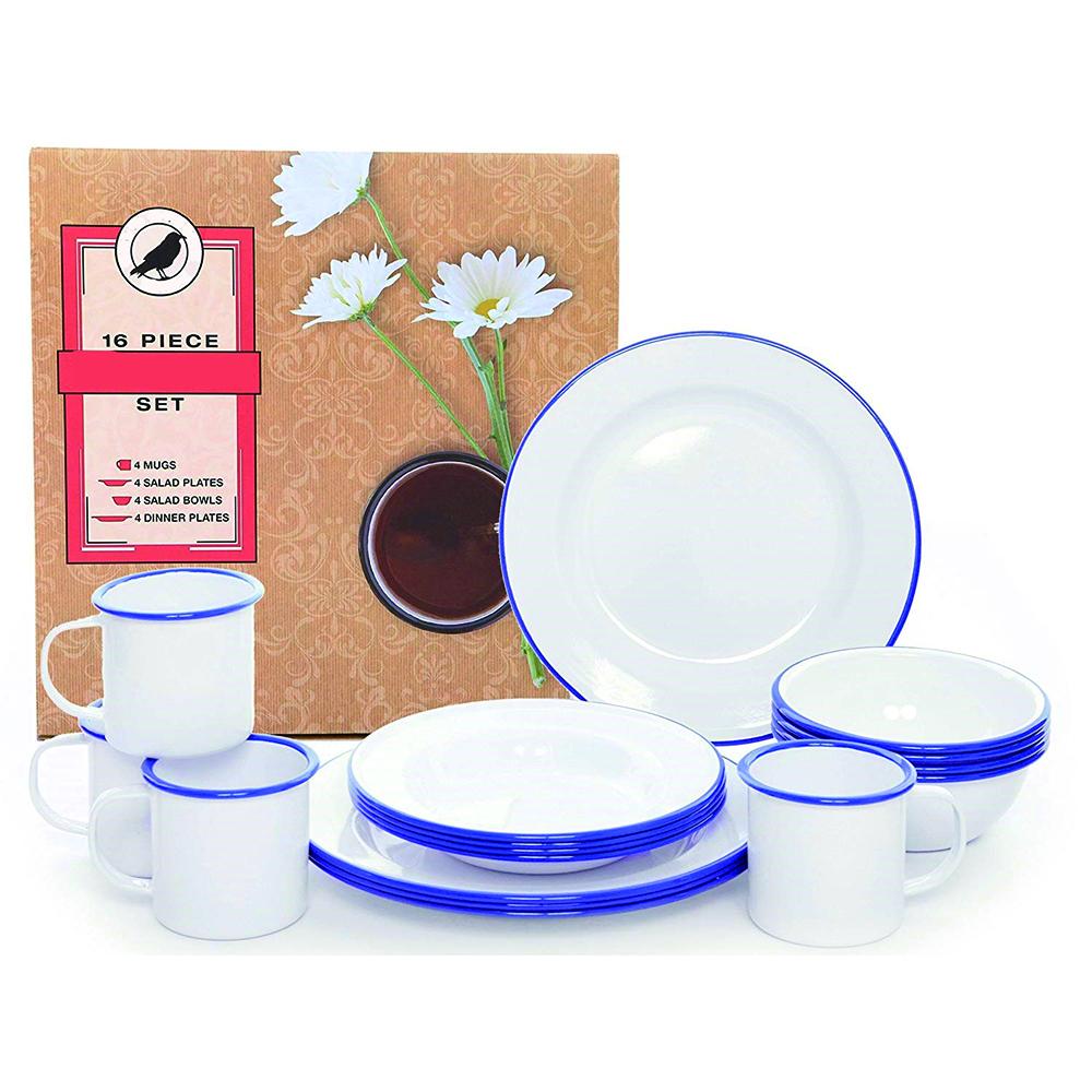 2020 OEM decal cookware enamel dinnerware camping set