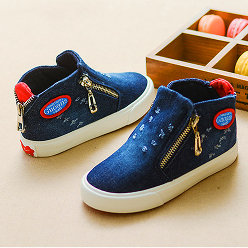 2016 Canvas Children Shoes Sport Breathable Boys Sneakers Brand Kids Shoes for Girls Jeans Denim Casual Child Flat Boots 25-37