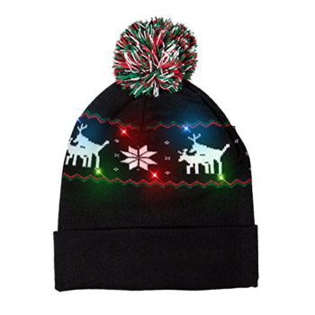 02ec1826b6fad Light Up Ugly Christmas Beanie Hat Knit Cap with 6 Colorful Lights 3  Flashing