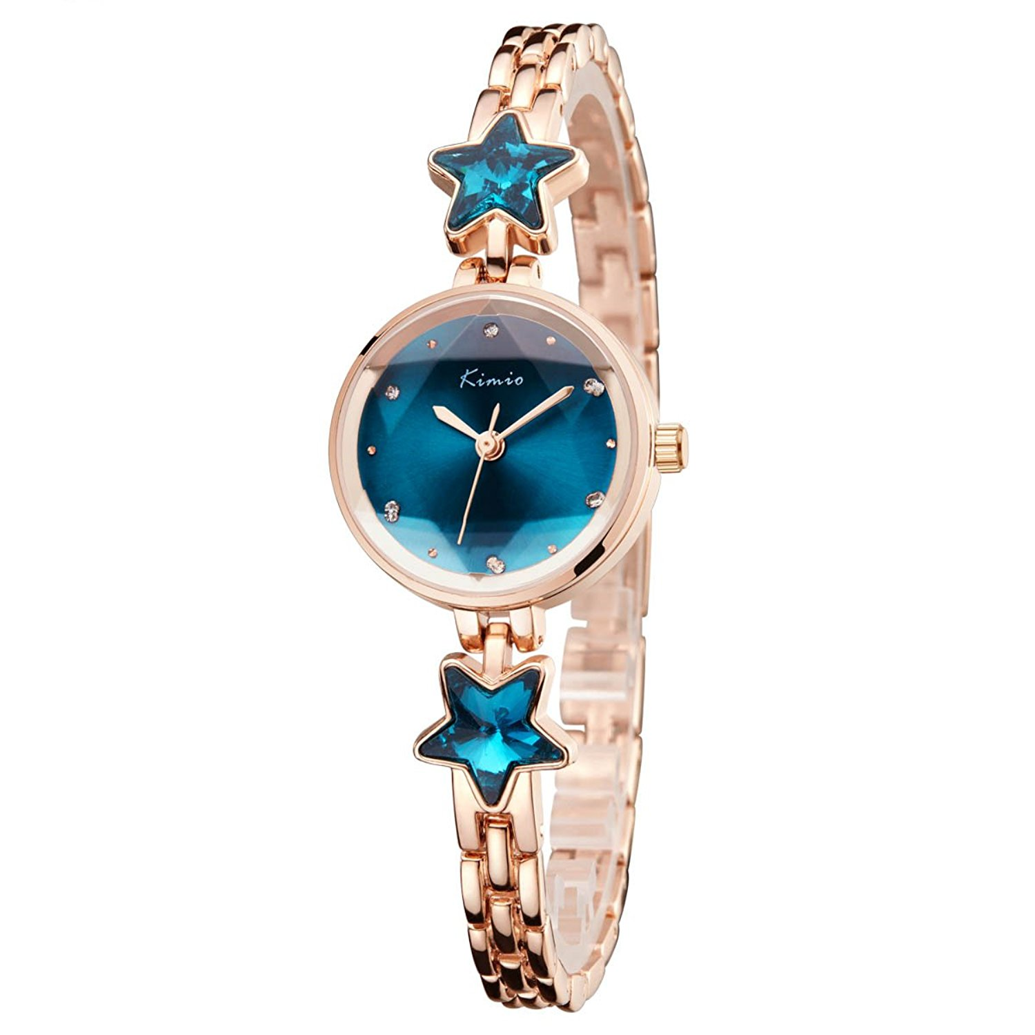 Tayhot Women Bracelet Watches,Women's Quartz Watches,Crystal Dial Womens Watches,Ladies Girls Analog Watches,Luxury Womens Rhinestone Watch with Blue Dial/Rose Gold Band