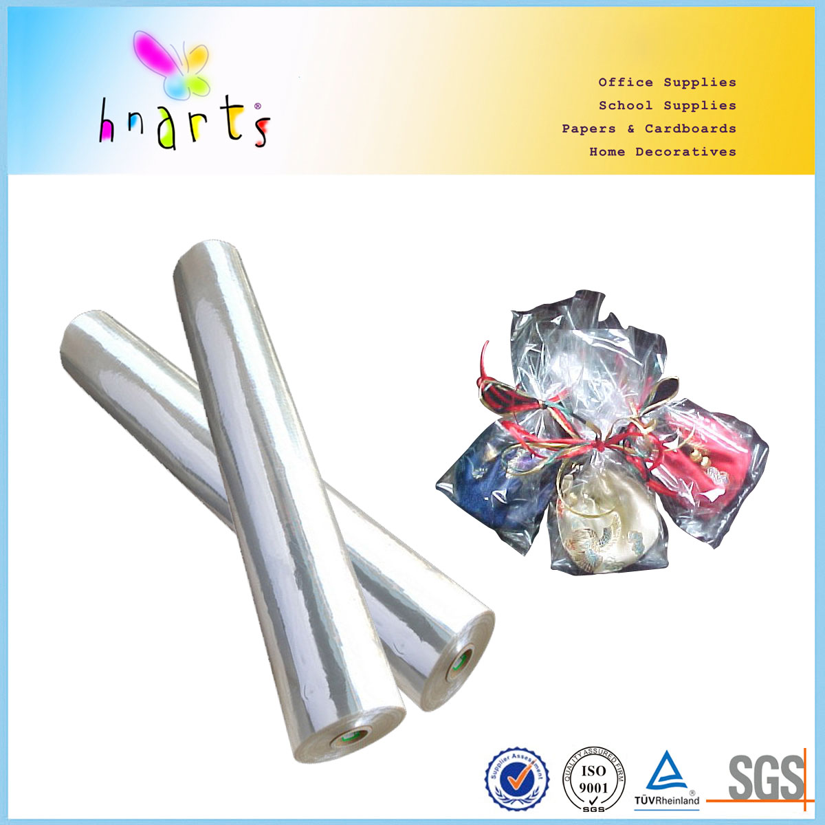 cheap cellophane in transparent,colorful cellophane sheet