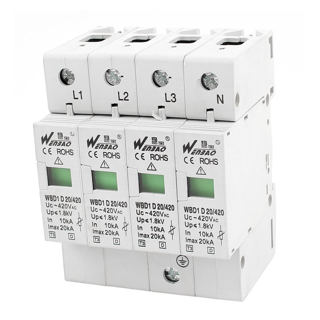 Cheap Din Rail Surge Protector Find Deals Voltage Circuit Get Quotations Uxcell Ac 420v 20ka Lightning Arrester 35mm 4 Pole