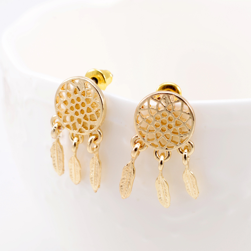 Get Quotations Women Dreamcatcher Drop Earrings 2017 New Fashion Gold Silver Black Metal Alloy With Leaf Tel