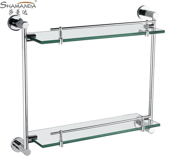 Chrome Bathroom Shelves Over Toilet: Double-Bathroom-Shelves-Glass-Shelf-Brass-Made-with-Chrome