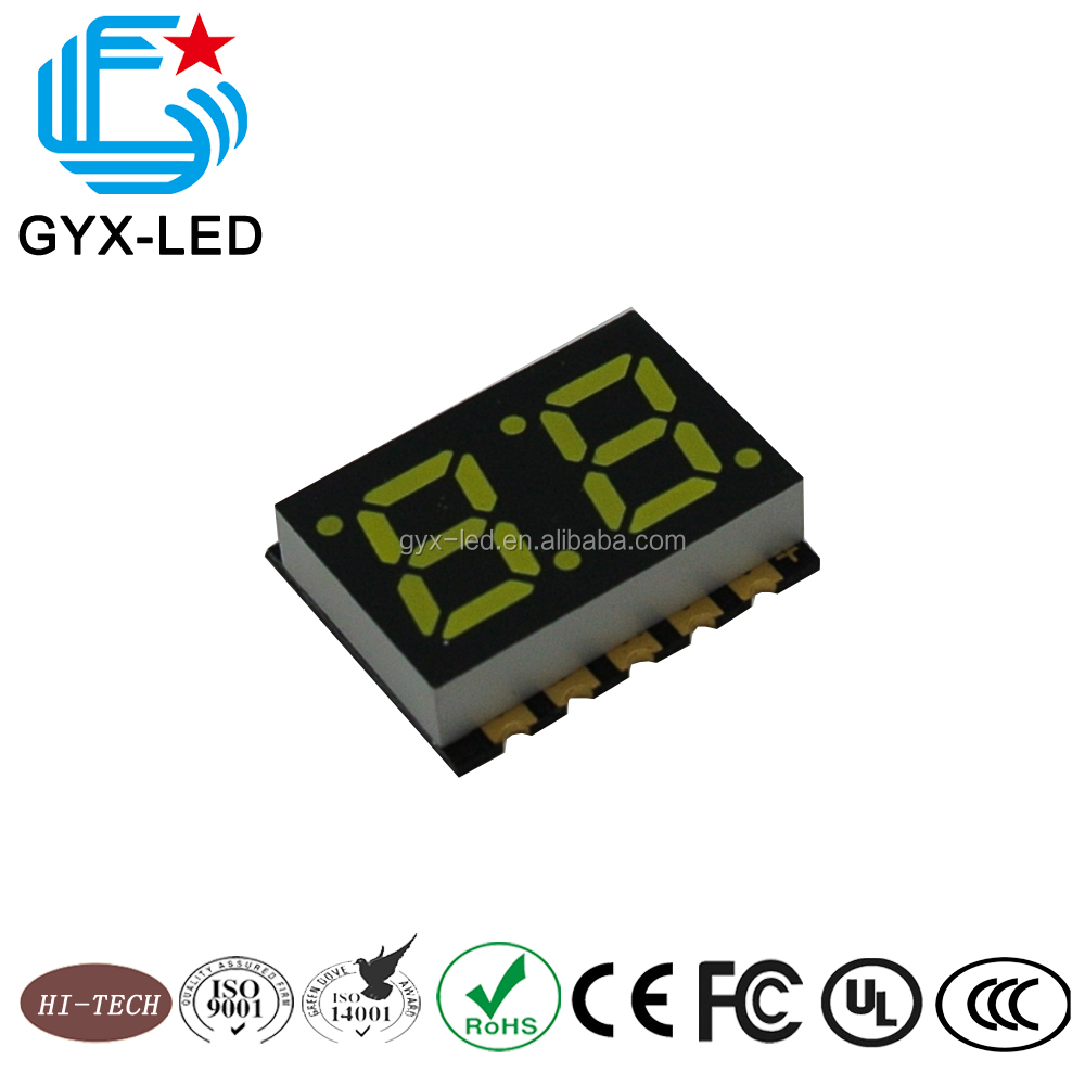 GYXLED--Graphics display in white emitting color and 20.0*16mm dimension 2 digit 7 segment