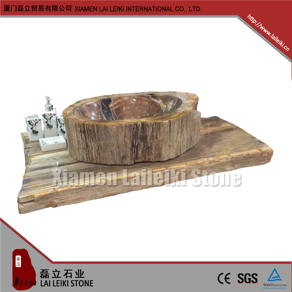 Low maintenance cost petrified bathroom sink